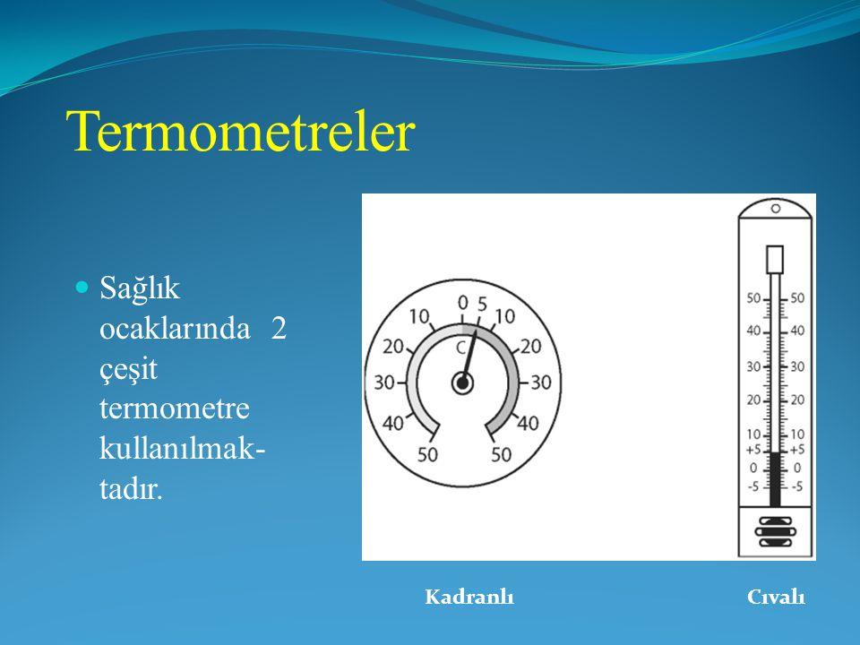 Termometreler Sağlık ocaklarında 2 çeşit termometre kullanılmak- tadır. Kadranlı Cıvalı
