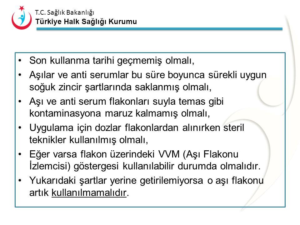 T.C. Sağlık Bakanlığı Türkiye Halk Sağlığı Kurumu Çok Dozlu Liyofilize Olmayan Aşılar ve Anti serumlar: OPA, DT, Td, Hepatit B aşıları ile anti seruml