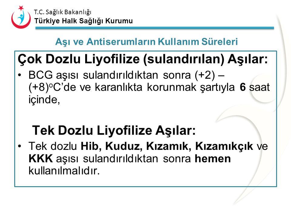 T.C. Sağlık Bakanlığı Türkiye Halk Sağlığı Kurumu Son kullanma tarihi geçmemiş olmalı, Aşılar ve anti serumlar bu süre boyunca sürekli uygun soğuk zin