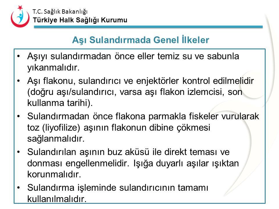 T.C. Sağlık Bakanlığı Türkiye Halk Sağlığı Kurumu Her aşı kendi sulandırıcısı ile sulandırılmalıdır. Farklı aşıların sulandırıcıları değiştirilerek ku
