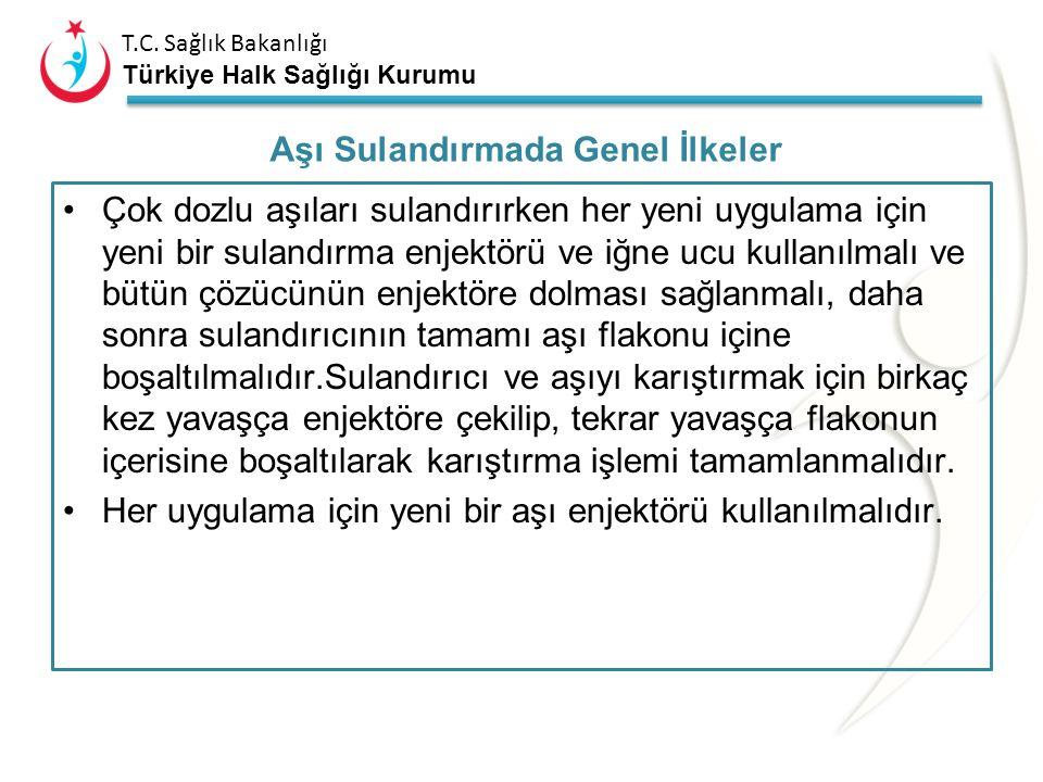 T.C. Sağlık Bakanlığı Türkiye Halk Sağlığı Kurumu Aşıyı sulandırmadan önce eller temiz su ve sabunla yıkanmalıdır. Aşı flakonu, sulandırıcı ve enjektö