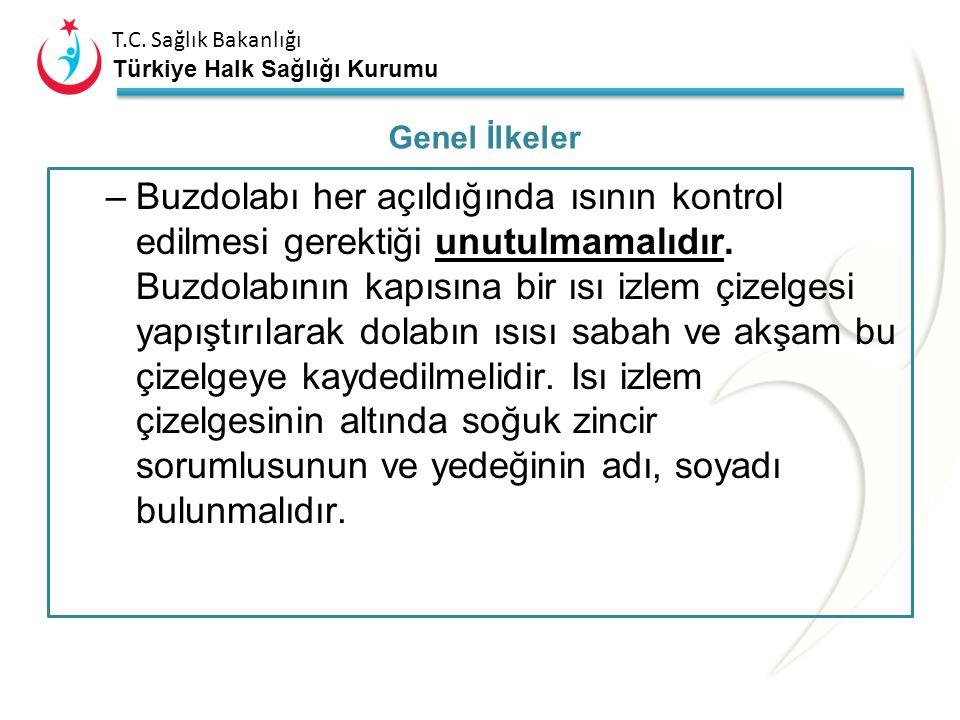 T.C. Sağlık Bakanlığı Türkiye Halk Sağlığı Kurumu –Aşı dolabı olarak buzluk ve alt bölümü ayrı olan çift kapılı no-frost buzdolapları kullanılmalıdır.