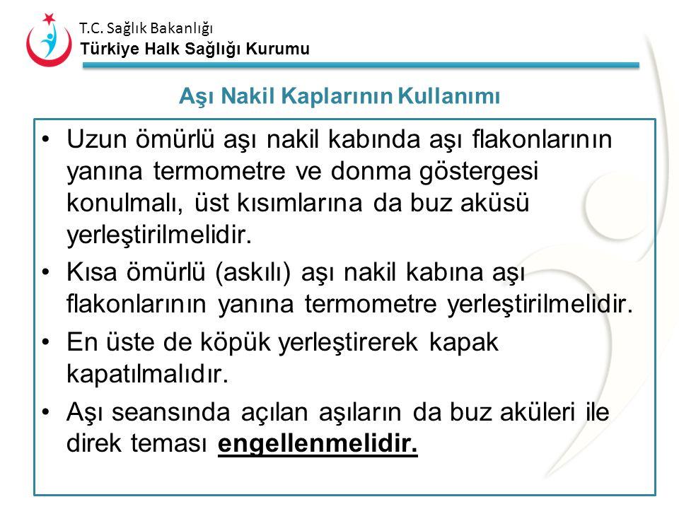 T.C. Sağlık Bakanlığı Türkiye Halk Sağlığı Kurumu Aşı ve sulandırıcılar aşı nakil kabının orta kısmına yerleştirilmelidir. Donmaya karşı hassas olan a