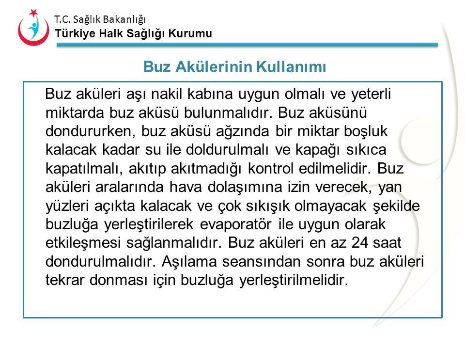 T.C. Sağlık Bakanlığı Türkiye Halk Sağlığı Kurumu Uzun ömürlü aşı nakil kabında aşı flakonlarının yanına termometre ve donma göstergesi konulmalı, üst