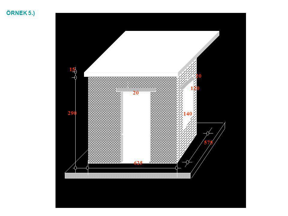 Çözüm: Brüt duvar alanı; [(11.30 – 2(0.20+0.30)).2 + (5.90 –2x0.30).2 + (5.90 – 2 x 0.40).2] x 2.65 = 109.71 m 2 Boşluk ve beton alanları; 3x0.90x2.10 + 3x1.00x1.20 = 9.27 m 2, Net duvar alanı: 100.44 m 2 100 = n 1 x39 + (n 1 – 1) →n 1 = 2.525 adet 1 m 2 duvar için; 100 = n 2 x19 + (n 2 – 1) →n 2 = 5.050 adet5.050 x 2.525 = 12.75 adet 1 bina için gerekli gazbeton blok sayısı: 100.44 x 12.75 = 1280 adet, 25 bina için gerekli gazbeton blok sayısı: 25 x 1280 = 32000 adet bulunur.