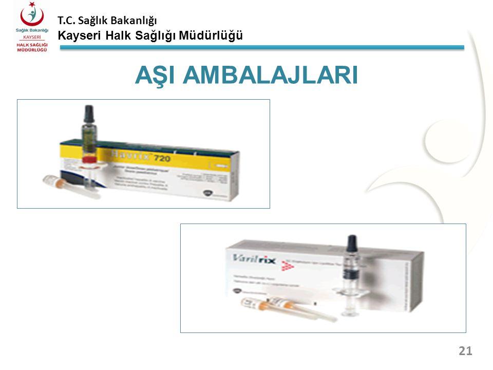 T.C. Sağlık Bakanlığı Kayseri Halk Sağlığı Müdürlüğü AŞI FLAKONLARI 20