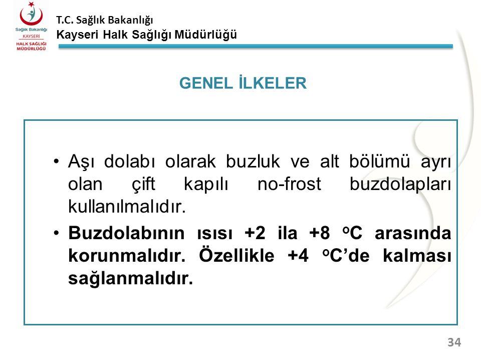 T.C. Sağlık Bakanlığı Kayseri Halk Sağlığı Müdürlüğü TSM/ASM lerde bulunan buzdolaplarının içerisine aşı, antiserum, buz aküsü ve su bidonlarından baş