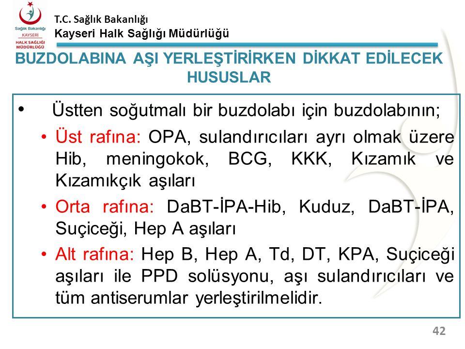 T.C. Sağlık Bakanlığı Kayseri Halk Sağlığı Müdürlüğü Aşıların donmaya karşı hassasiyetleri (en hassas olandan başlayarak); Hepatit B aşısı Hepatit A a