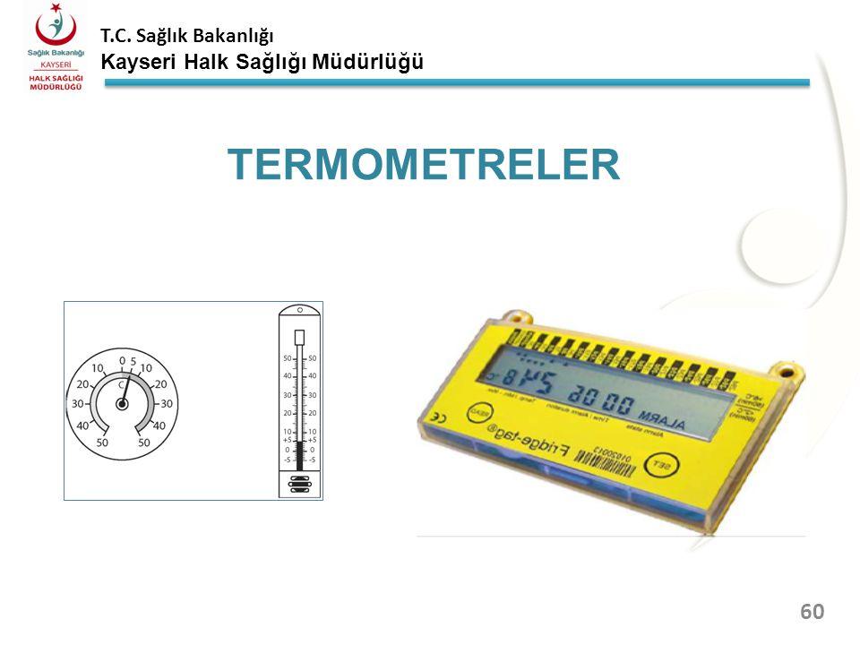 T.C. Sağlık Bakanlığı Kayseri Halk Sağlığı Müdürlüğü Termometreler orta rafın orta bölümüne yerleştirilmelidir. Her sabah mesai başlarken ve her akşam