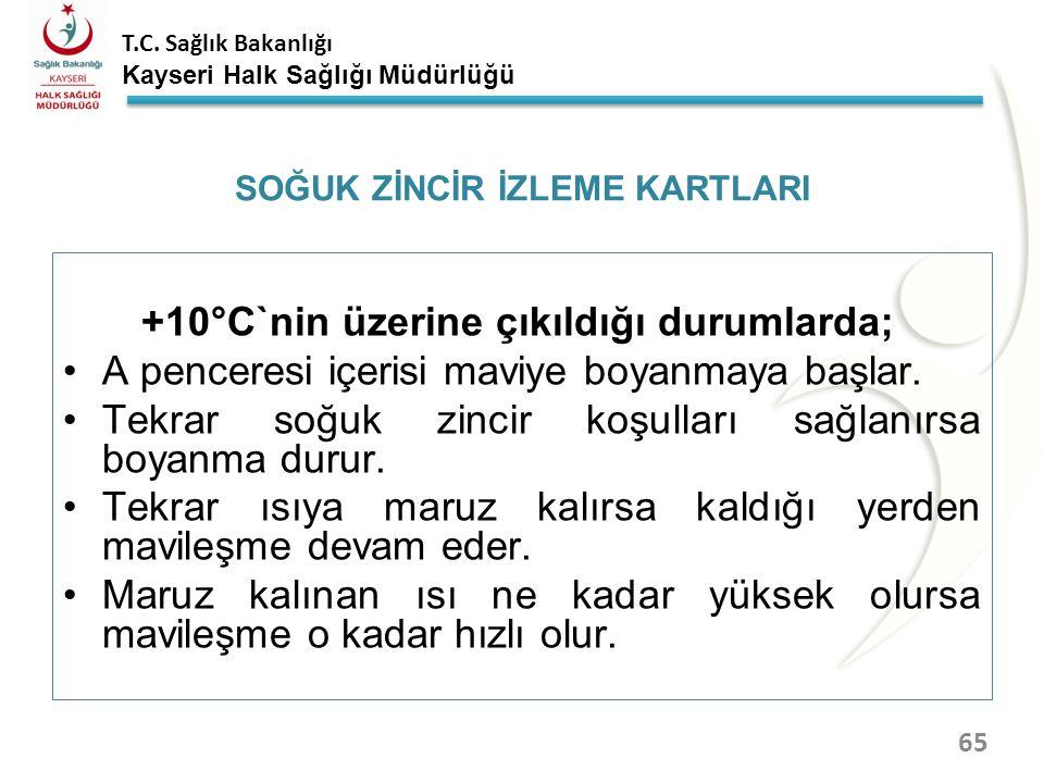 T.C. Sağlık Bakanlığı Kayseri Halk Sağlığı Müdürlüğü SOĞUK ZİNCİR İZLEME KARTLARI 64 ABC bölümleri aşının +10°C`nin üzerinde maruz kaldıkları ısıları,