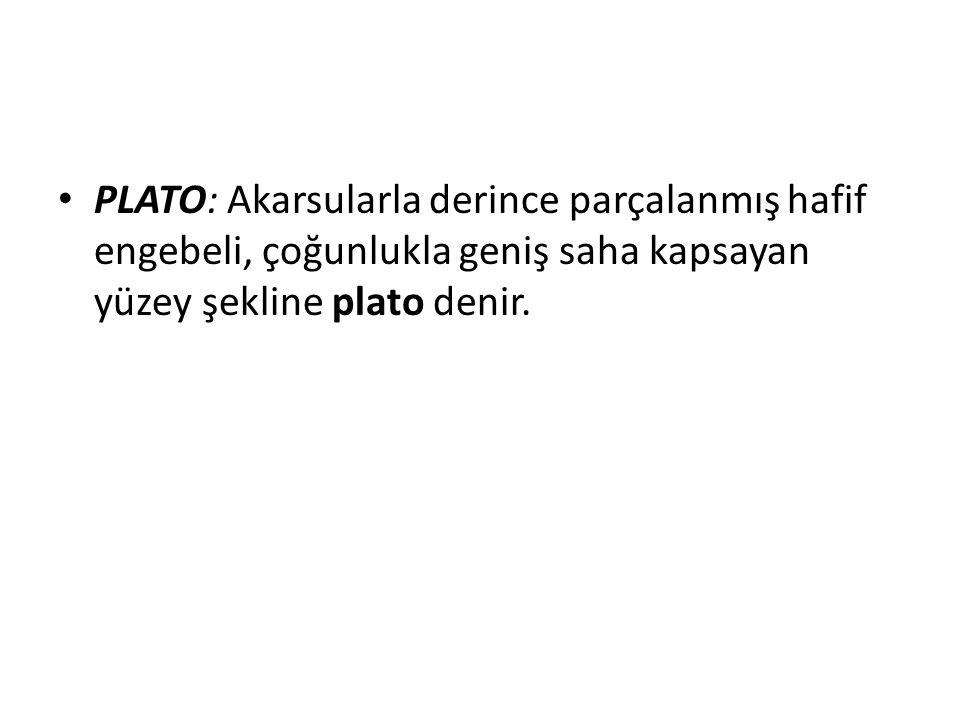PLATO: Akarsularla derince parçalanmış hafif engebeli, çoğunlukla geniş saha kapsayan yüzey şekline plato denir.
