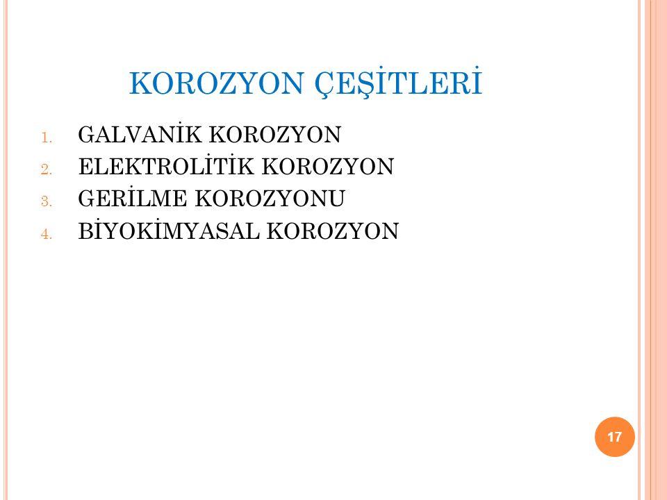 KOROZYON ÇEŞİTLERİ 1. GALVANİK KOROZYON 2. ELEKTROLİTİK KOROZYON 3. GERİLME KOROZYONU 4. BİYOKİMYASAL KOROZYON 17