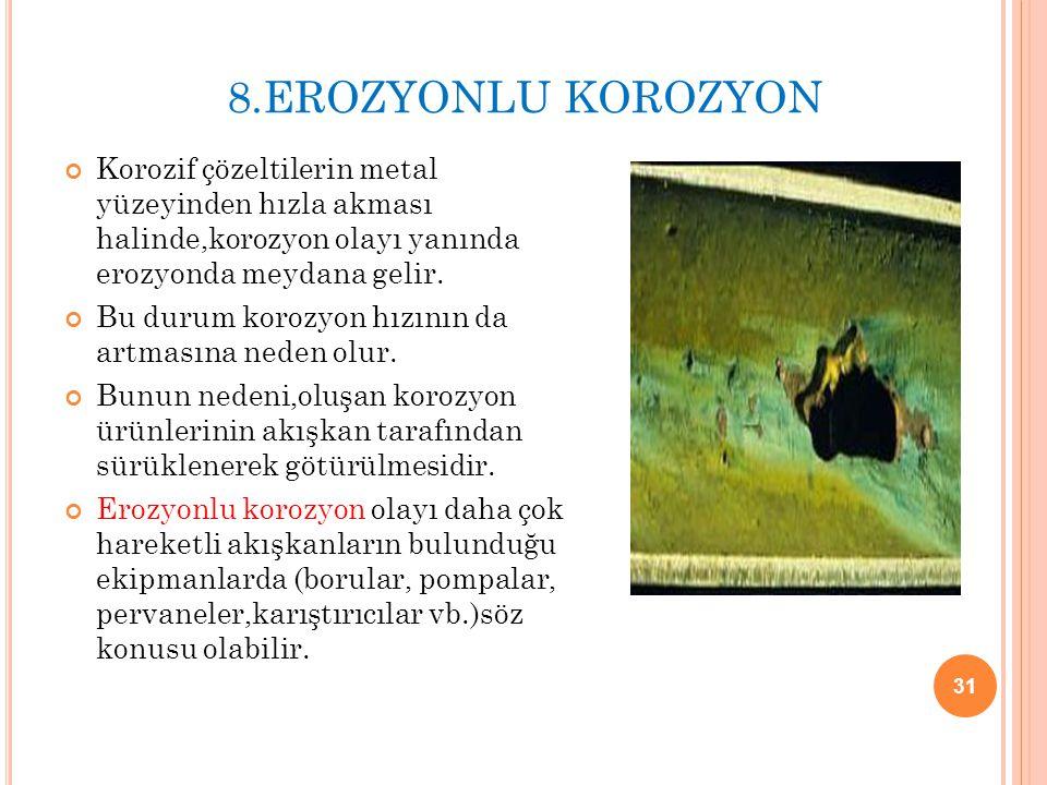 8.EROZYONLU KOROZYON Korozif çözeltilerin metal yüzeyinden hızla akması halinde,korozyon olayı yanında erozyonda meydana gelir. Bu durum korozyon hızı