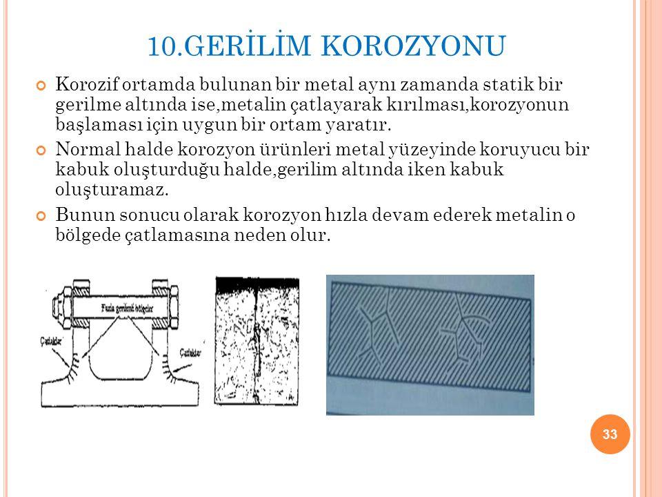10.GERİLİM KOROZYONU Korozif ortamda bulunan bir metal aynı zamanda statik bir gerilme altında ise,metalin çatlayarak kırılması,korozyonun başlaması i