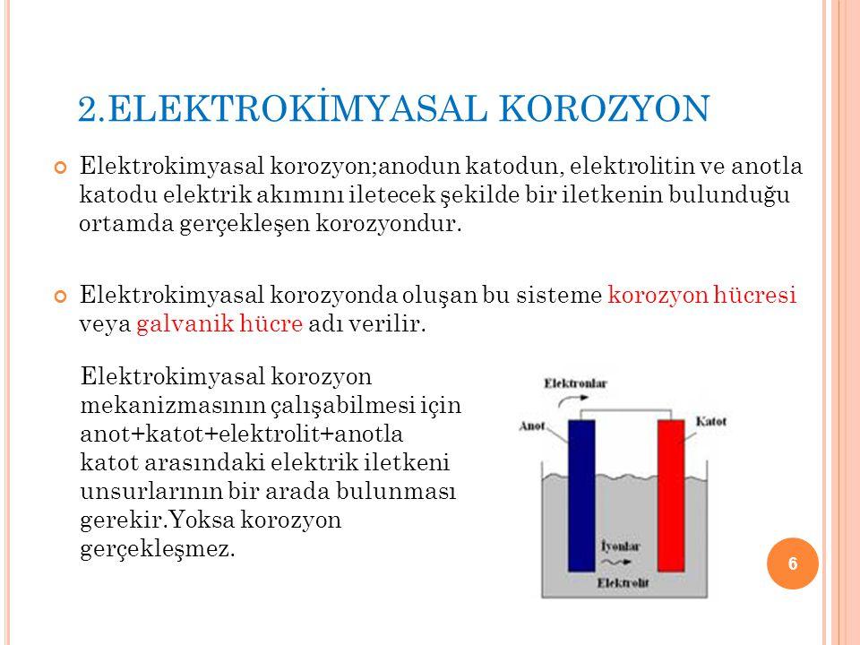 2.ELEKTROKİMYASAL KOROZYON Elektrokimyasal korozyon;anodun katodun, elektrolitin ve anotla katodu elektrik akımını iletecek şekilde bir iletkenin bulu