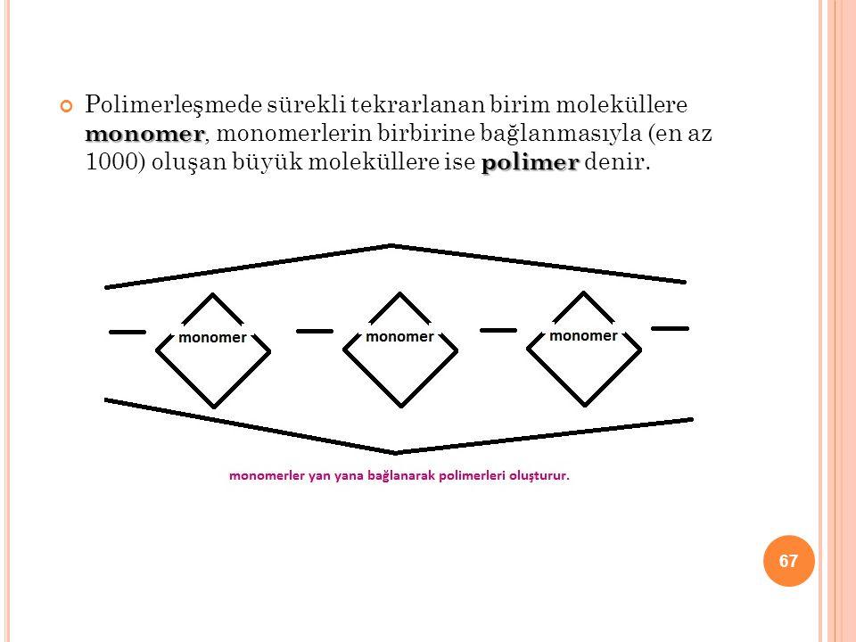 monomer polimer Polimerleşmede sürekli tekrarlanan birim moleküllere monomer, monomerlerin birbirine bağlanmasıyla (en az 1000) oluşan büyük molekülle
