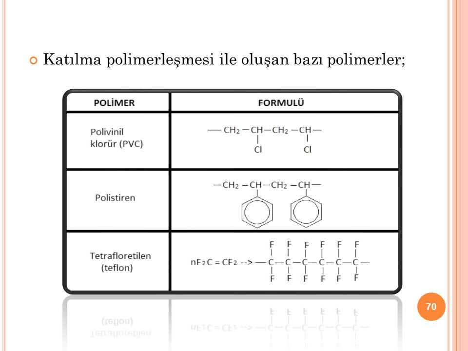 Katılma polimerleşmesi ile oluşan bazı polimerler; 70