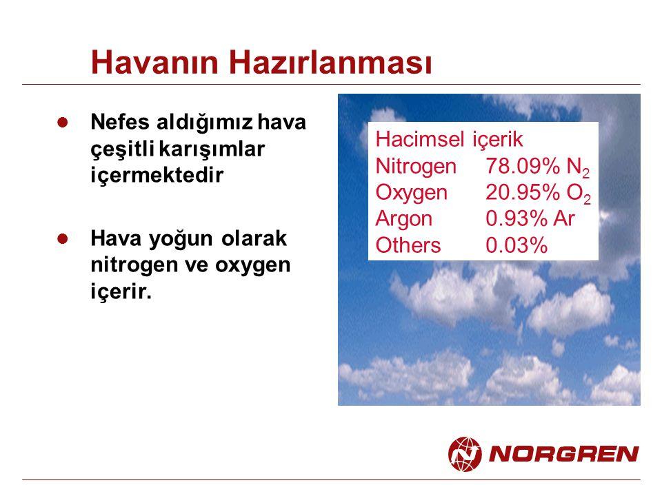 Havanın Hazırlanması Nefes aldığımız hava çeşitli karışımlar içermektedir Hava yoğun olarak nitrogen ve oxygen içerir. Hacimsel içerik Nitrogen78.09%