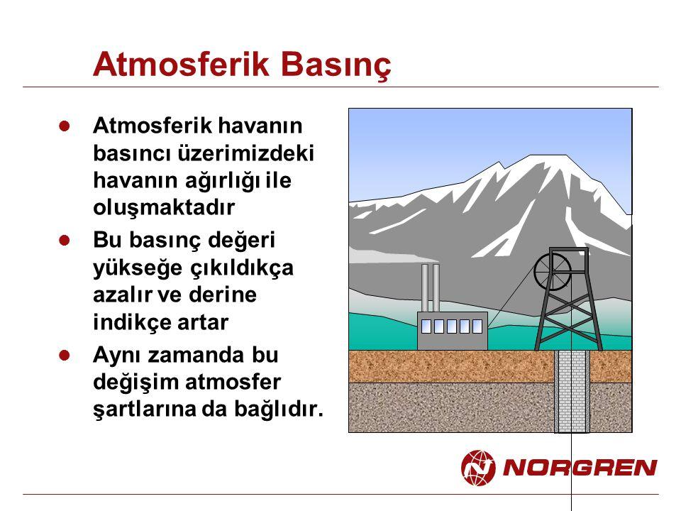Atmosferik Basınç Atmosferik havanın basıncı üzerimizdeki havanın ağırlığı ile oluşmaktadır Bu basınç değeri yükseğe çıkıldıkça azalır ve derine indik