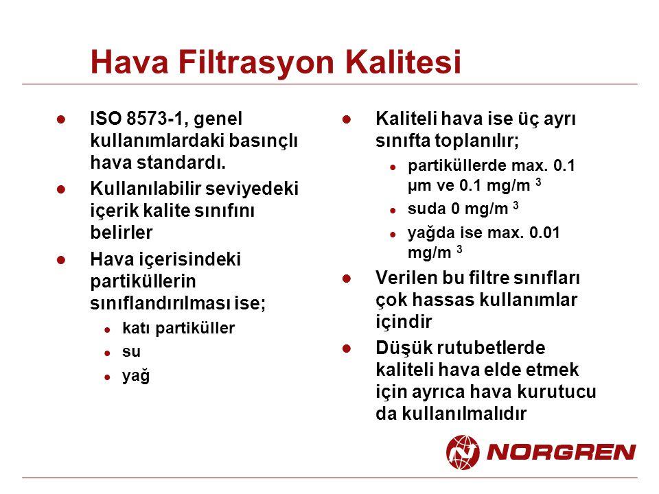 Hava Filtrasyon Kalitesi ISO 8573-1, genel kullanımlardaki basınçlı hava standardı. Kullanılabilir seviyedeki içerik kalite sınıfını belirler Hava içe