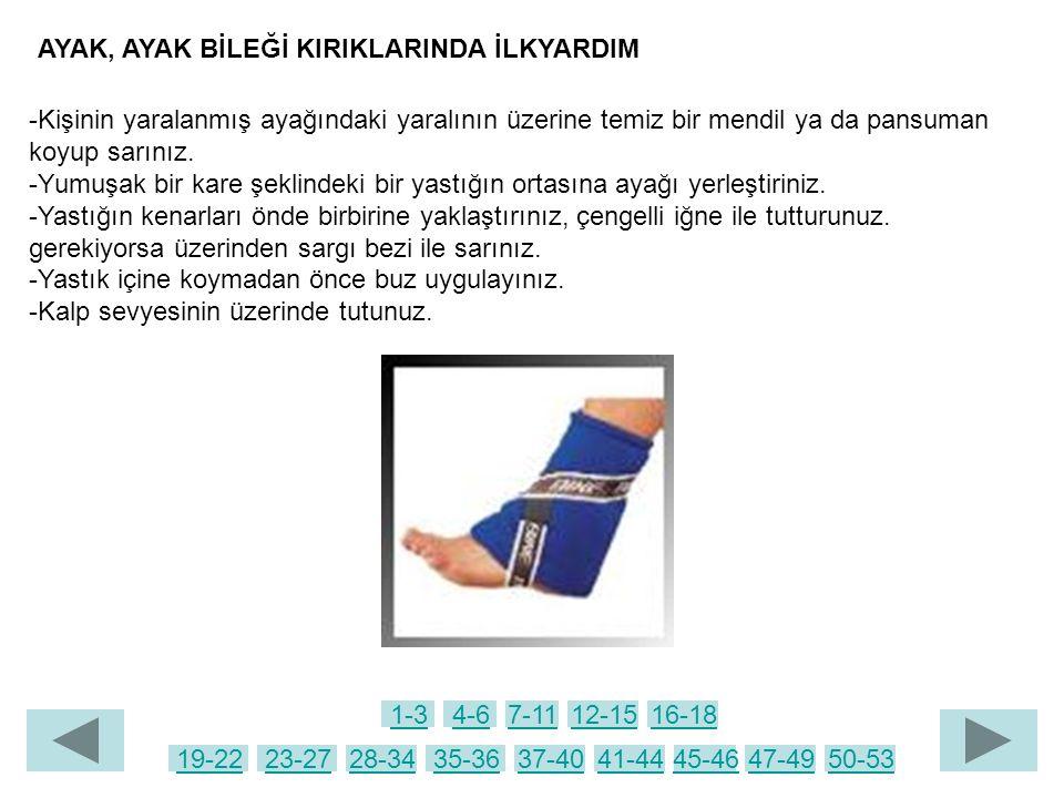 -Kişinin yaralanmış ayağındaki yaralının üzerine temiz bir mendil ya da pansuman koyup sarınız. -Yumuşak bir kare şeklindeki bir yastığın ortasına aya