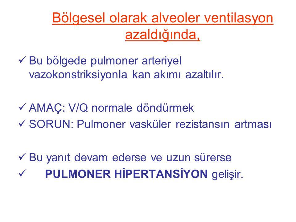 Bölgesel olarak alveoler ventilasyon azaldığında, Bu bölgede pulmoner arteriyel vazokonstriksiyonla kan akımı azaltılır. AMAÇ: V/Q normale döndürmek S