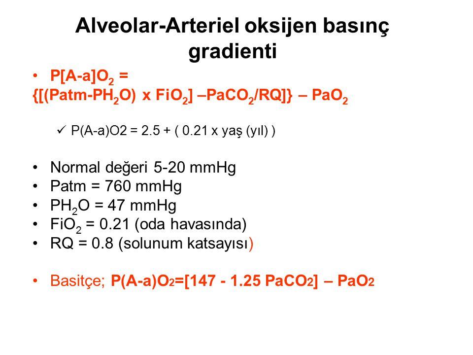 Alveolar-Arteriel oksijen basınç gradienti P[A-a]O 2 = {[(Patm-PH 2 O) x FiO 2 ] –PaCO 2 /RQ]} – PaO 2 P(A-a)O2 = 2.5 + ( 0.21 x yaş (yıl) ) Normal de