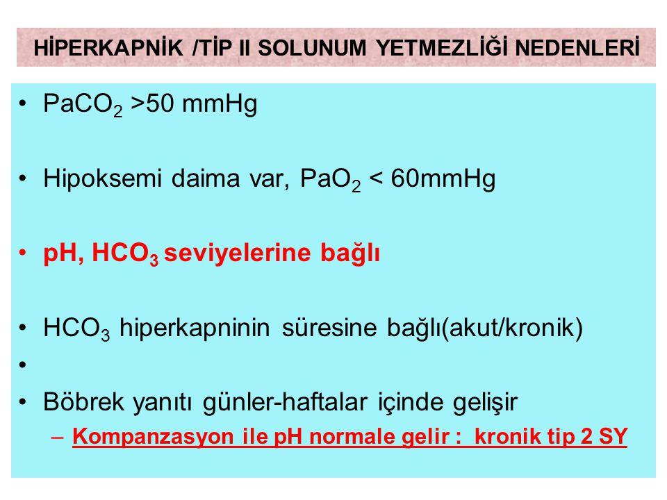 PaCO 2 >50 mmHg Hipoksemi daima var, PaO 2 < 60mmHg pH, HCO 3 seviyelerine bağlı HCO 3 hiperkapninin süresine bağlı(akut/kronik) Böbrek yanıtı günler-