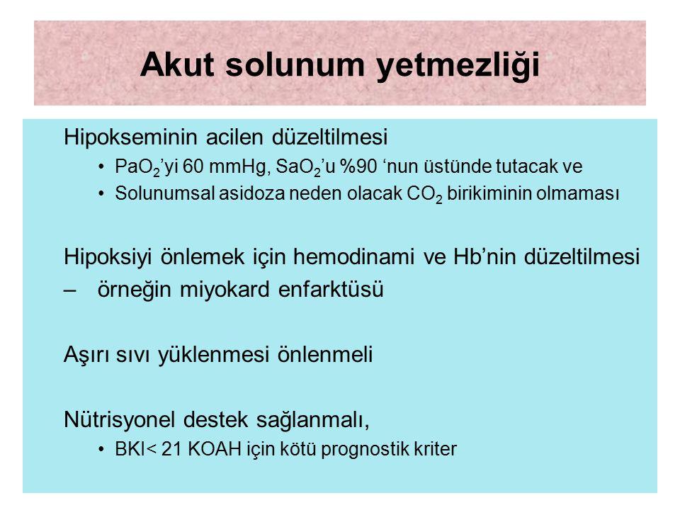 Akut solunum yetmezliği Hipokseminin acilen düzeltilmesi PaO 2 'yi 60 mmHg, SaO 2 'u %90 'nun üstünde tutacak ve Solunumsal asidoza neden olacak CO 2