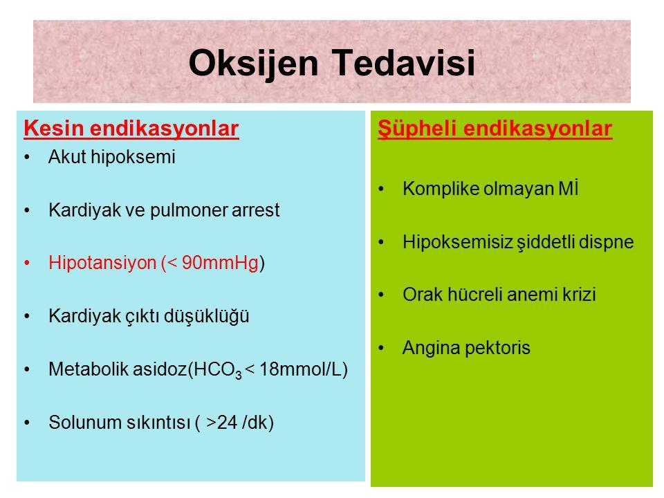 Oksijen Tedavisi Kesin endikasyonlar Akut hipoksemi Kardiyak ve pulmoner arrest Hipotansiyon (< 90mmHg) Kardiyak çıktı düşüklüğü Metabolik asidoz(HCO