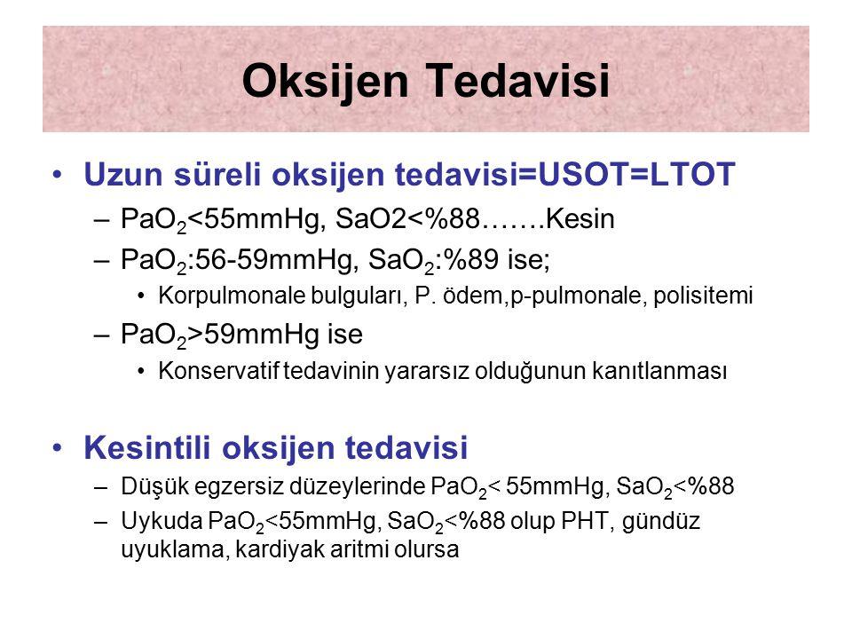 Oksijen Tedavisi Uzun süreli oksijen tedavisi=USOT=LTOT –PaO 2 <55mmHg, SaO2<%88…….Kesin –PaO 2 :56-59mmHg, SaO 2 :%89 ise; Korpulmonale bulguları, P.