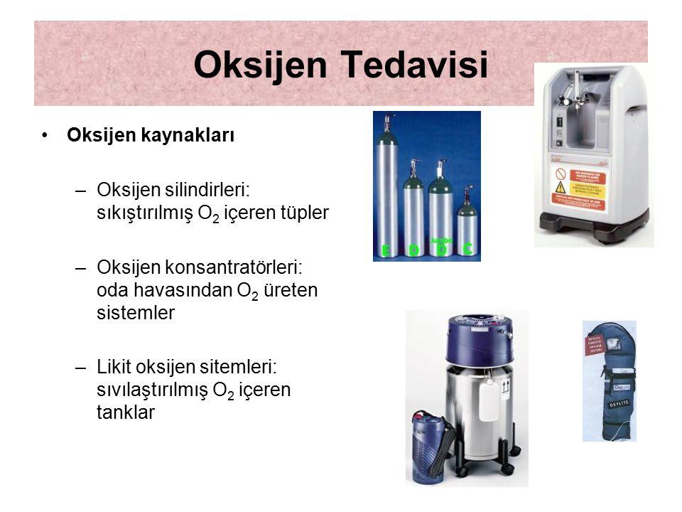 Oksijen Tedavisi Oksijen kaynakları –Oksijen silindirleri: sıkıştırılmış O 2 içeren tüpler –Oksijen konsantratörleri: oda havasından O 2 üreten sistem