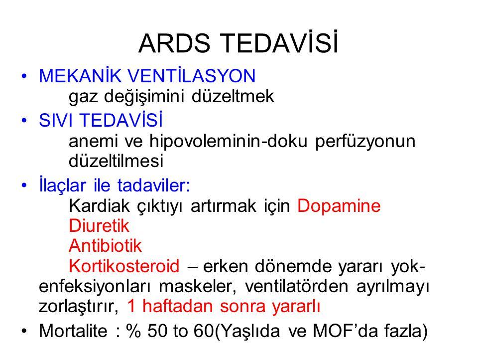 ARDS TEDAVİSİ MEKANİK VENTİLASYON gaz değişimini düzeltmek SIVI TEDAVİSİ anemi ve hipovoleminin-doku perfüzyonun düzeltilmesi İlaçlar ile tadaviler: K