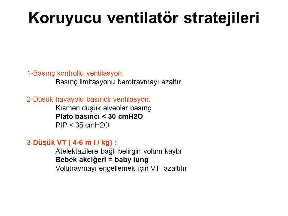Koruyucu ventilatör stratejileri 1-Basınç kontrollü ventilasyon: Basınç limitasyonu barotravmayı azaltır 2-Düşük havayolu basınclı ventilasyon: Kısmen