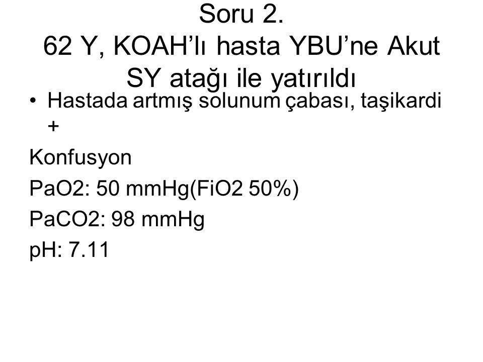 Soru 2. 62 Y, KOAH'lı hasta YBU'ne Akut SY atağı ile yatırıldı Hastada artmış solunum çabası, taşikardi + Konfusyon PaO2: 50 mmHg(FiO2 50%) PaCO2: 98