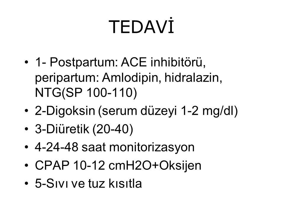TEDAVİ 1- Postpartum: ACE inhibitörü, peripartum: Amlodipin, hidralazin, NTG(SP 100-110) 2-Digoksin (serum düzeyi 1-2 mg/dl) 3-Diüretik (20-40) 4-24-4