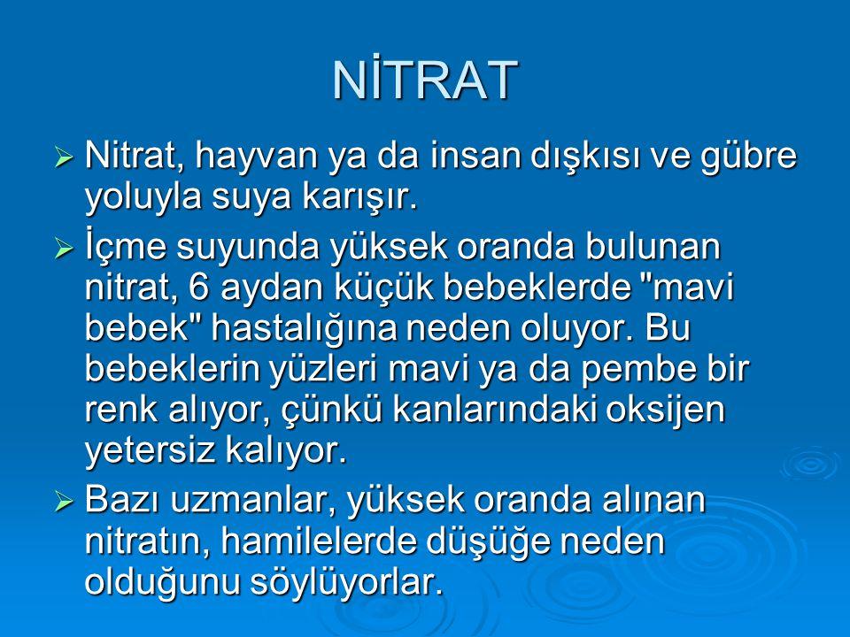 NİTRAT  Nitrat, hayvan ya da insan dışkısı ve gübre yoluyla suya karışır.  İçme suyunda yüksek oranda bulunan nitrat, 6 aydan küçük bebeklerde