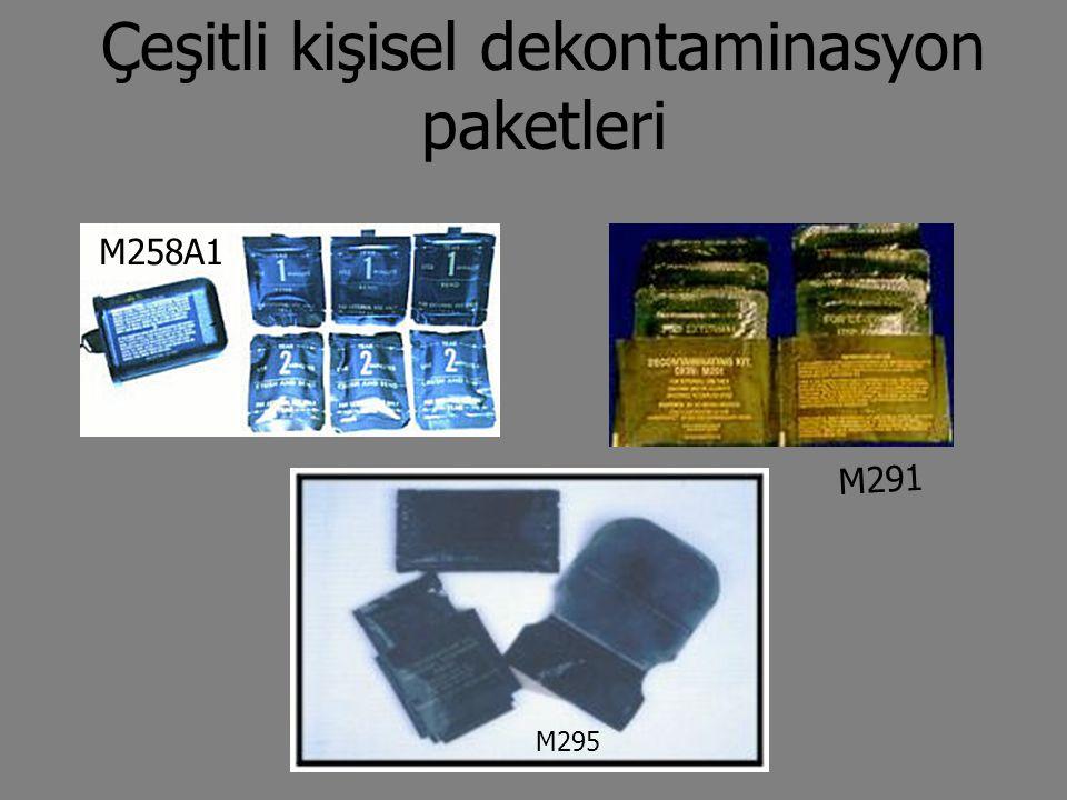 Çeşitli kişisel dekontaminasyon paketleri M258A1 M295 M291