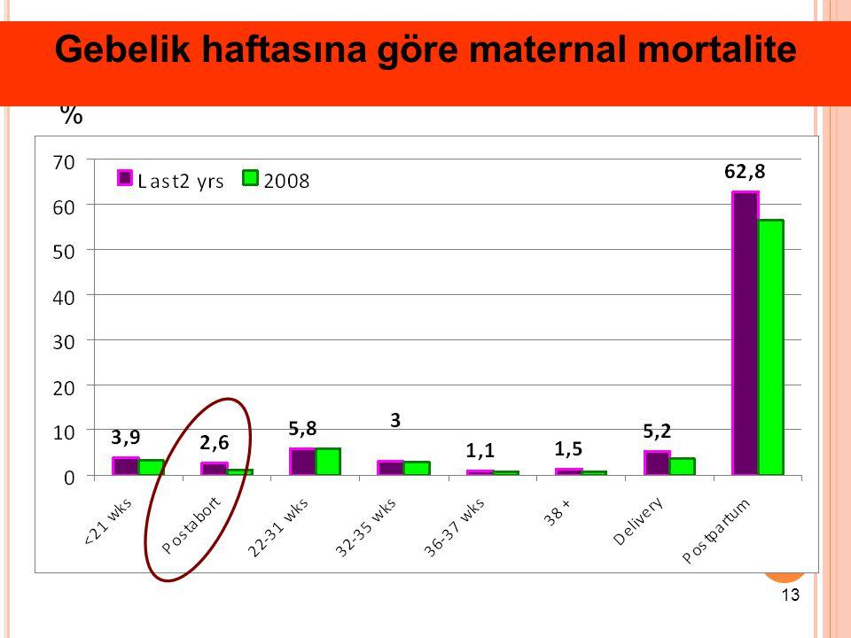 % Gebelik haftasına göre maternal mortalite 13