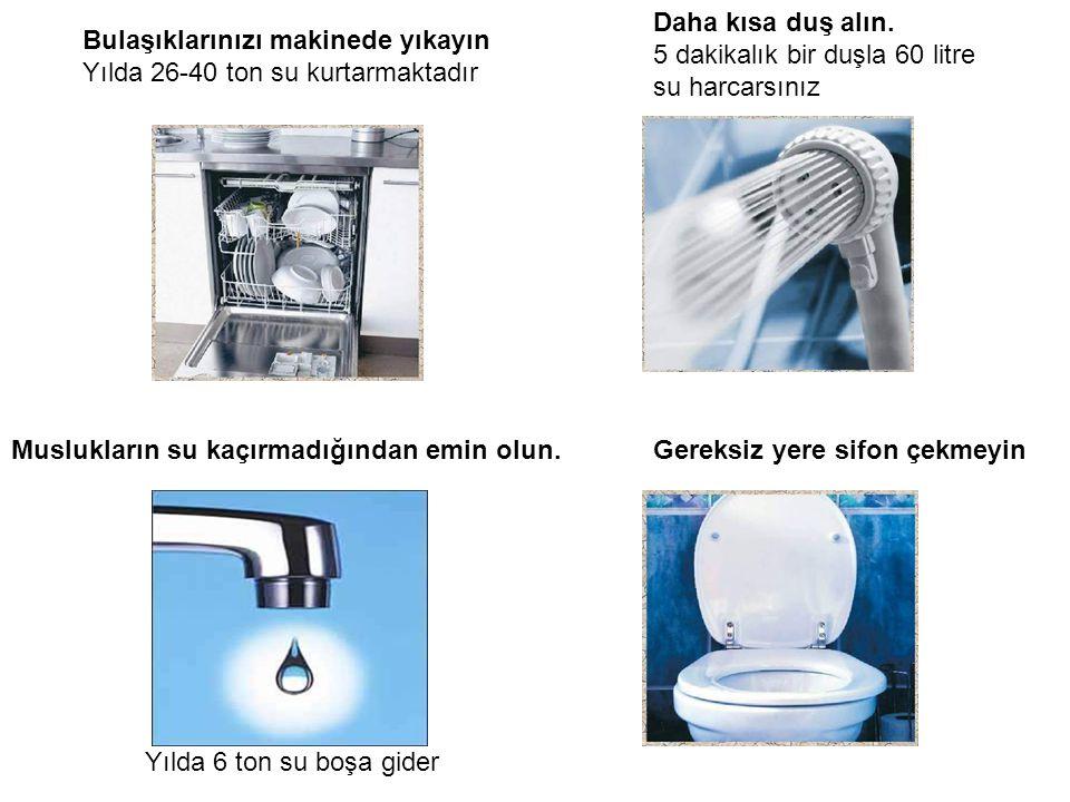Bulaşıklarınızı makinede yıkayın Yılda 26-40 ton su kurtarmaktadır Daha kısa duş alın.