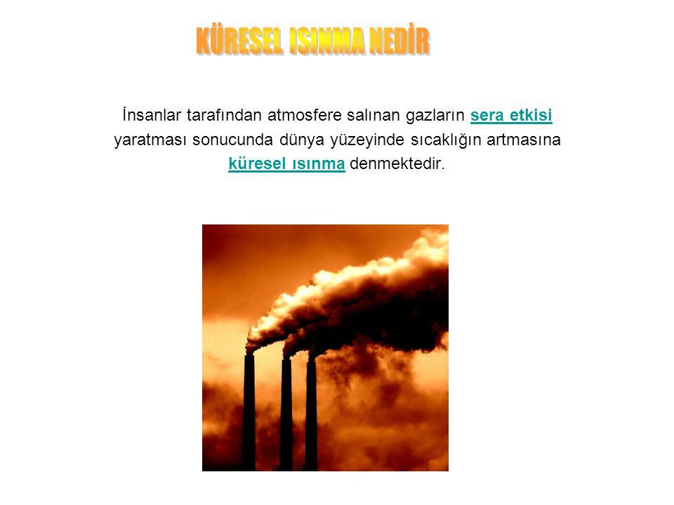 İnsanlar tarafından atmosfere salınan gazların sera etkisisera etkisi yaratması sonucunda dünya yüzeyinde sıcaklığın artmasına küresel ısınmaküresel ısınma denmektedir.