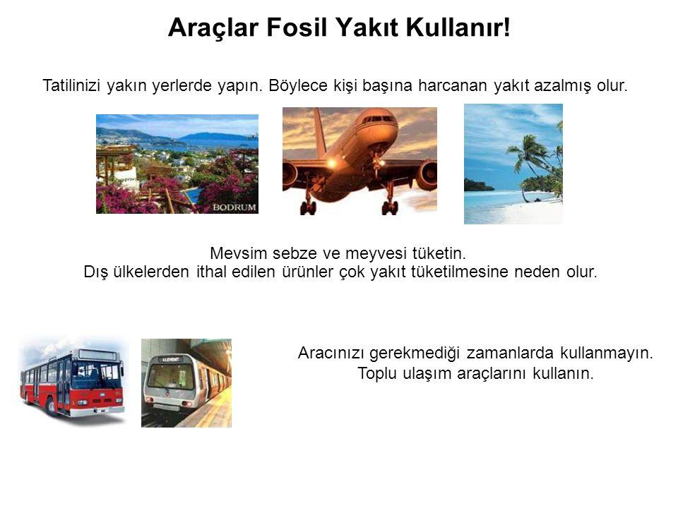Araçlar Fosil Yakıt Kullanır.Tatilinizi yakın yerlerde yapın.