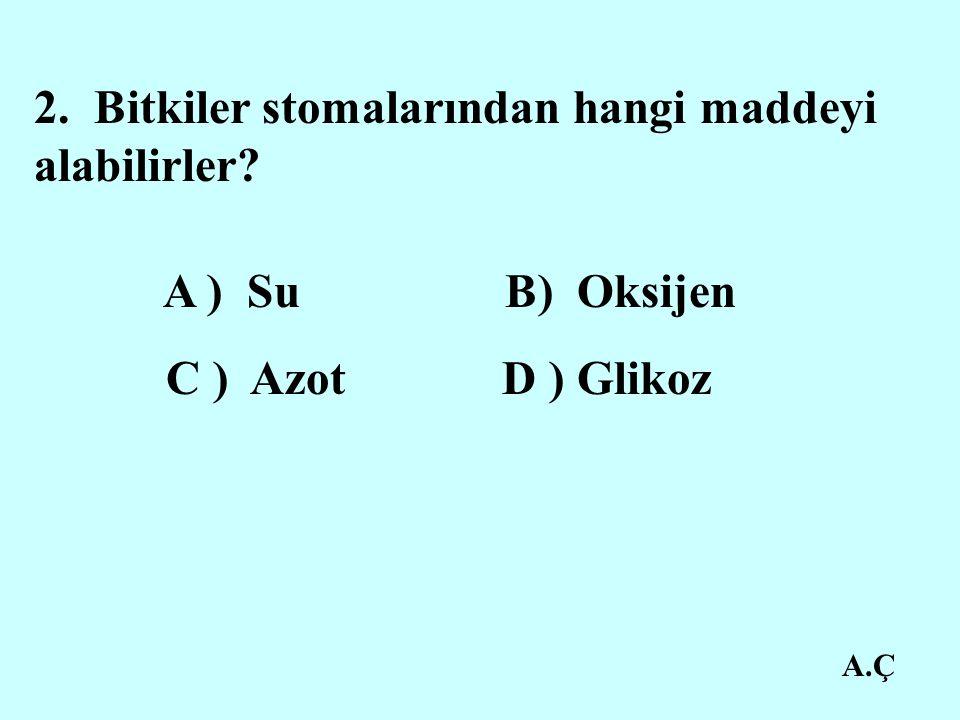 A.Ç 2. Bitkiler stomalarından hangi maddeyi alabilirler? A ) Su B) Oksijen C ) Azot D ) Glikoz