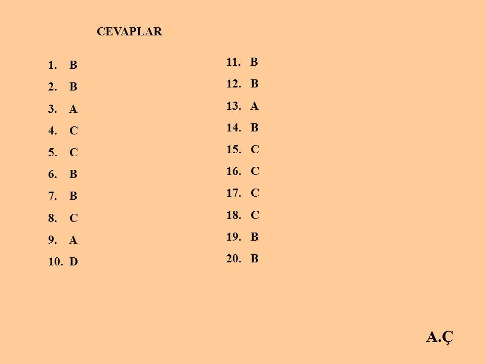 A.Ç CEVAPLAR 1.B 2. B 3. A 4. C 5. C 6. B 7. B 8.