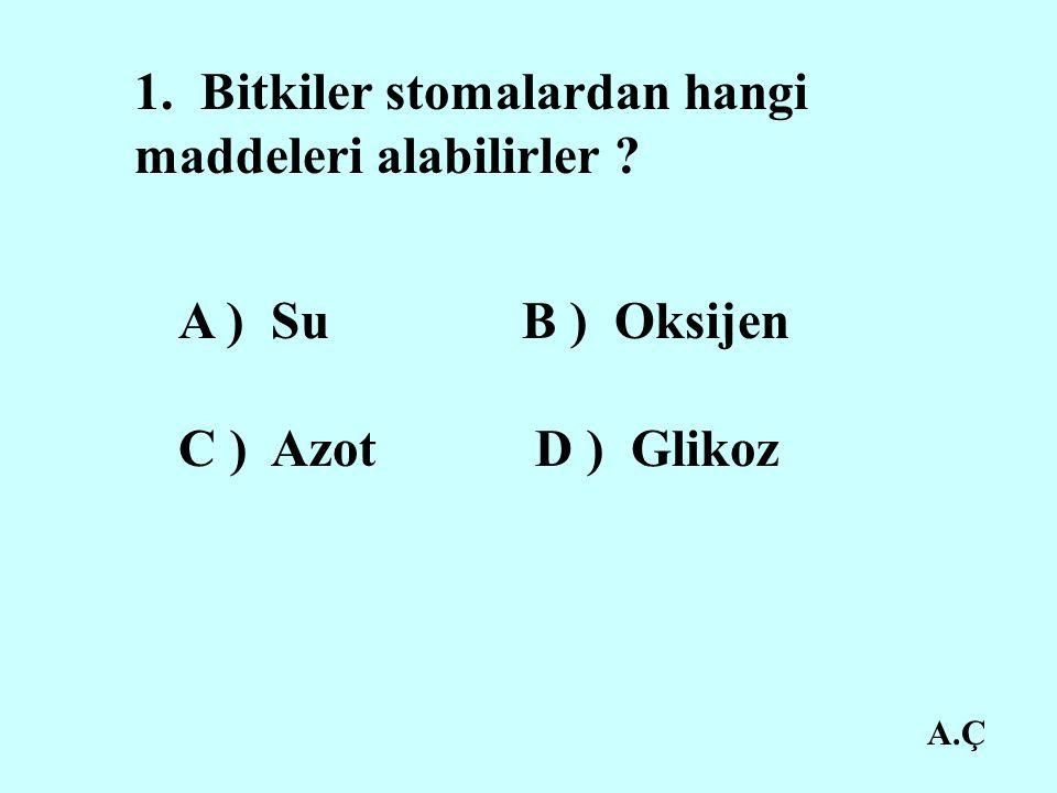 A.Ç 1. Bitkiler stomalardan hangi maddeleri alabilirler ? A ) Su B ) Oksijen C ) Azot D ) Glikoz