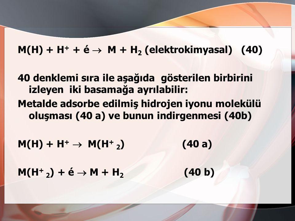 b(1) atomik hidrojenin H 2 molekülü oluşturmak üzere birleşmesi: M(H) + M(H)  2M + H 2 (katalitik) (39) veya b(2) başka bir H + iyonunun elektrodda b