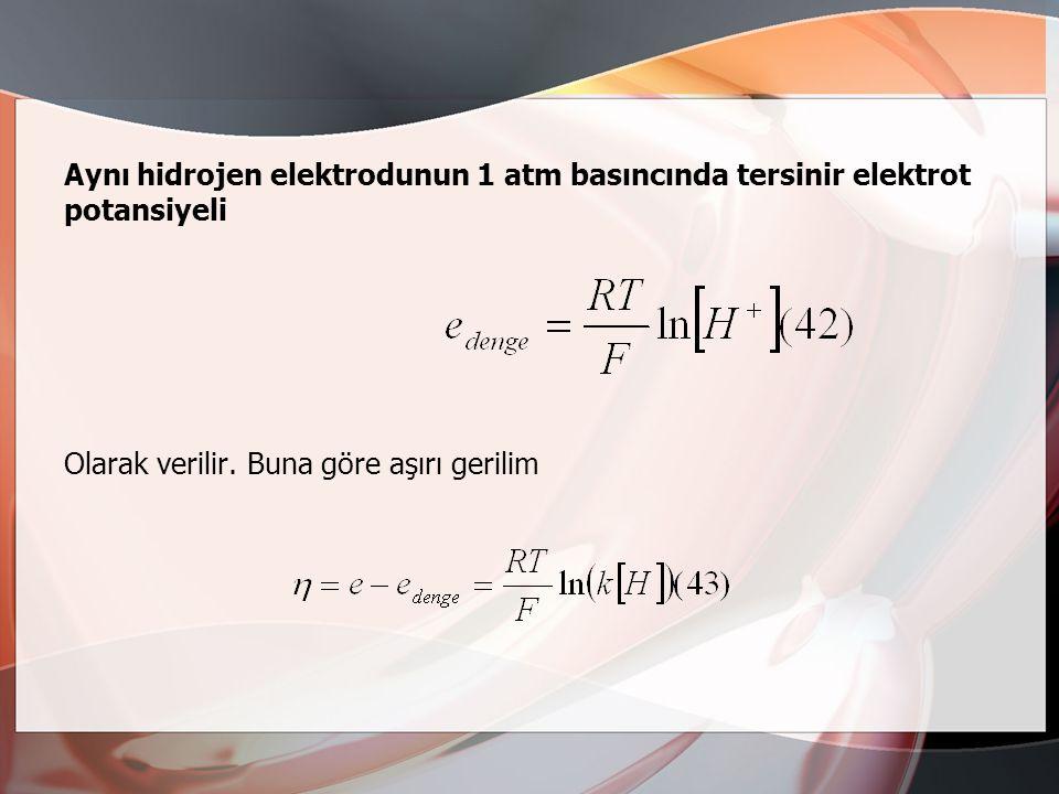 Tafel kuramından geliştirilmiş olan kurama göre, hidrojen iyonlarının yük verme reaksiyonu 38 dengededir ve bunu hızı belirleyen birleşme reaksiyonu 3