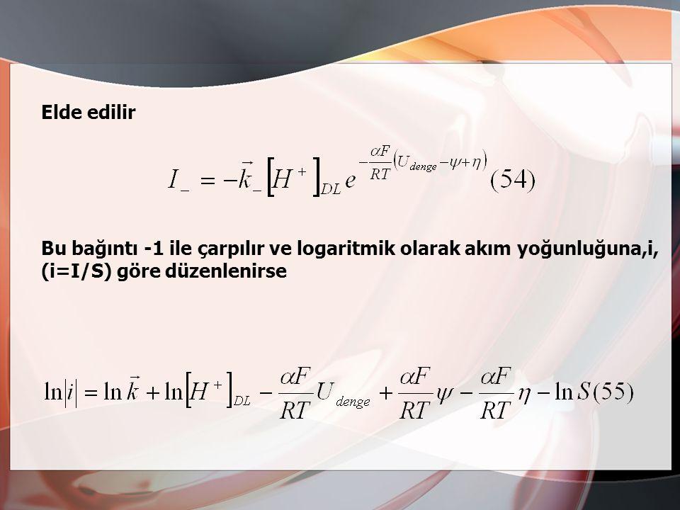 Denklemi kullanılabilir. Bu bağıntı: Ox z+ + zé  red (53) Genel denkleminde indirgenme olayı için verilmektedir. 52 denklemini burada kullanabilmek i