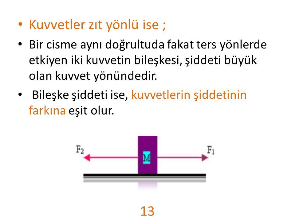 Kuvvetler zıt yönlü ise ; Bir cisme aynı doğrultuda fakat ters yönlerde etkiyen iki kuvvetin bileşkesi, şiddeti büyük olan kuvvet yönündedir. Bileşke