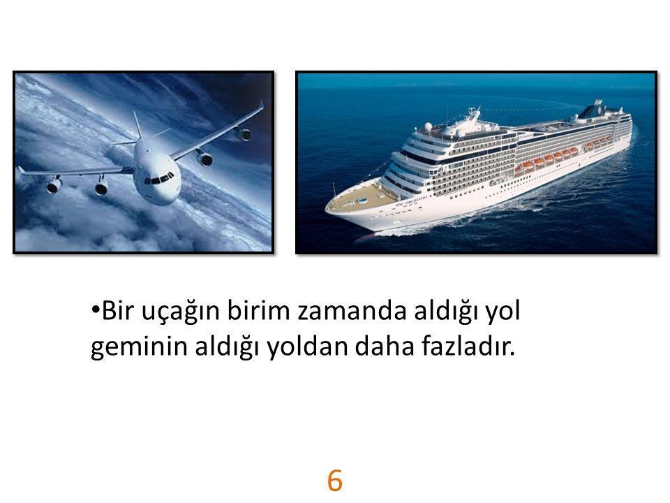 6 Bir uçağın birim zamanda aldığı yol geminin aldığı yoldan daha fazladır.